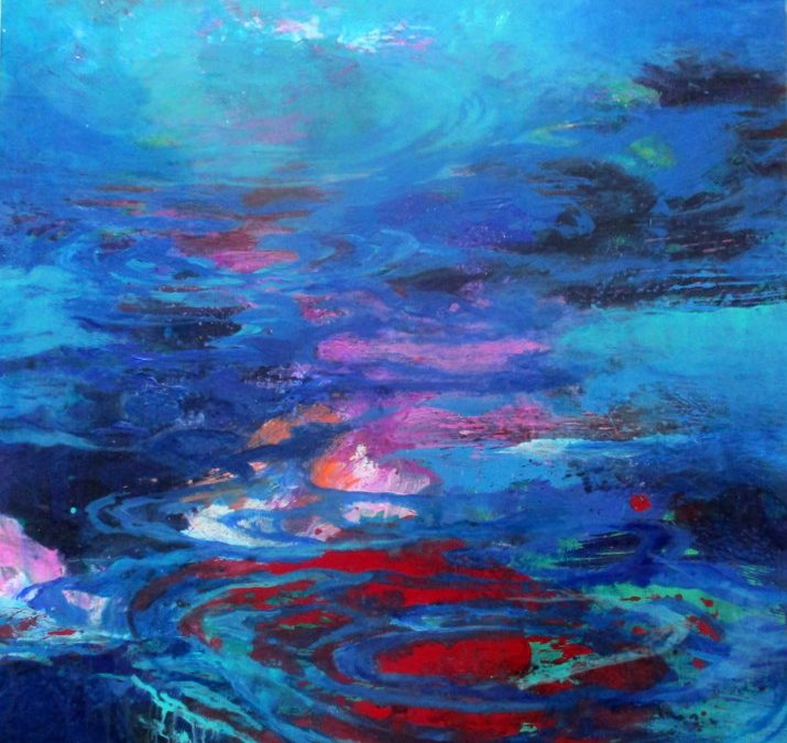Kopfüber springe ich in das Farbbad Blau, tauche unter oder steige in luftige Winde.